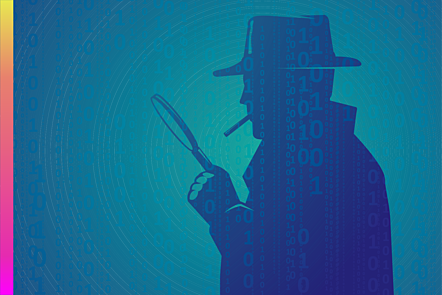 Drawn image of a spy against the background of matrix-style data.