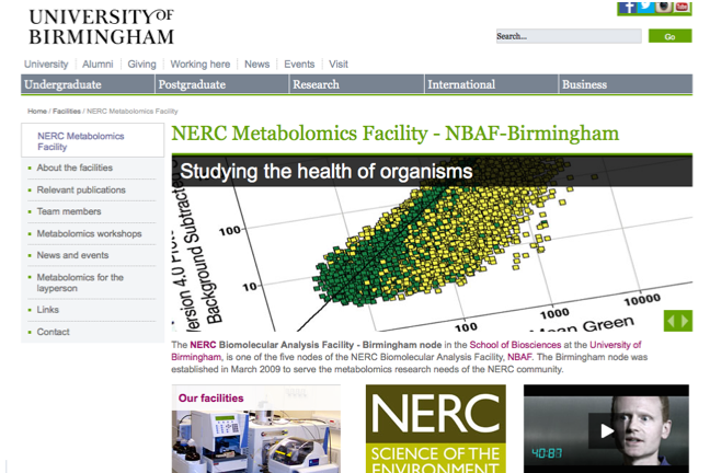 The NERC Metabolomics Facility – NBAF-B