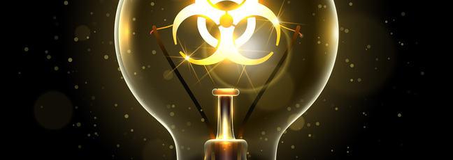 Biohazard symbol within a lightbulb