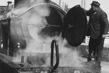 A Driver Inspects the Smokebox of a Midland Railway Spinner Locomotive