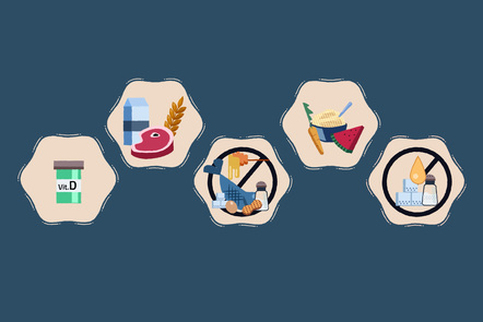 5 small icons displaying different foods
