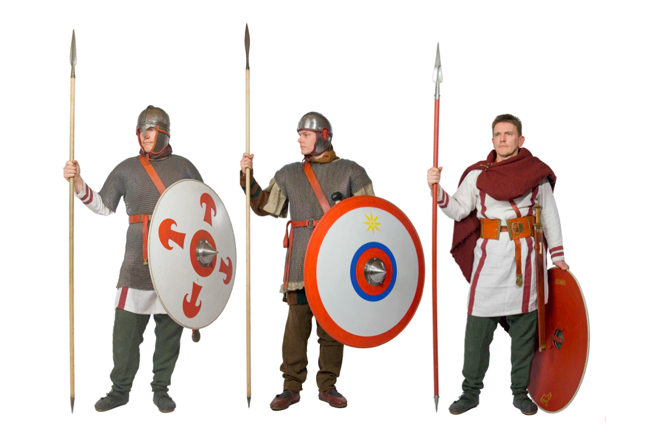 Examples of late Roman military dress. Image (c) VEX LEG VIII AVG