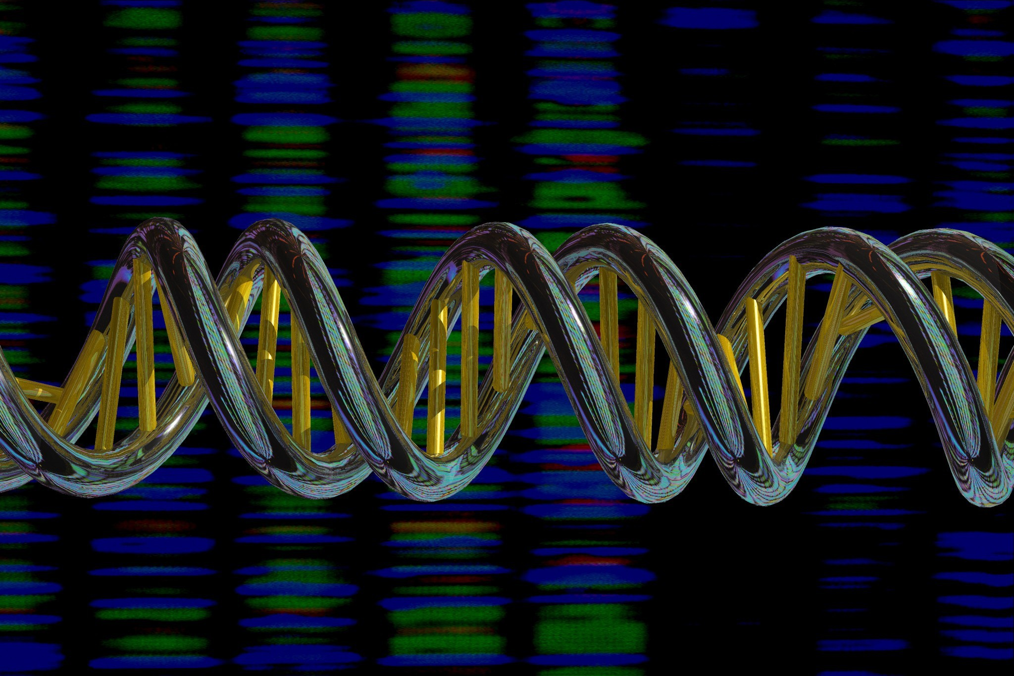 Colourful Image of a horizontal, double strand of DNA in front of a coloured sequence read out behind