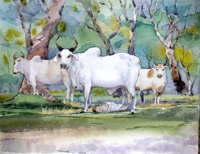 Cow protecting baby Zarathushtra