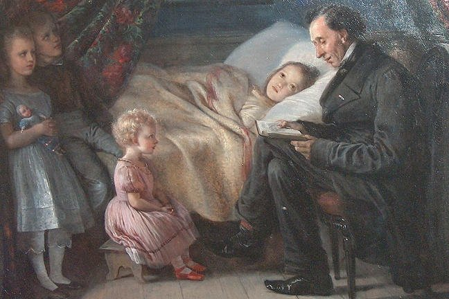 An image of Hans Christian Andersen sitting next to a bed reading a book to a girl laying on the bed and 3 children standing and sitting next to the bed