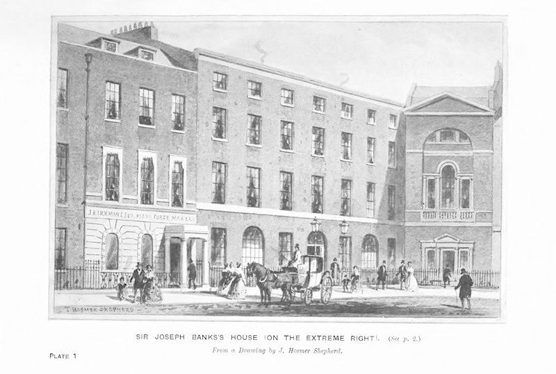 Sir Joseph Banks' House, Soho Square, with horse and carriage and people in foreground