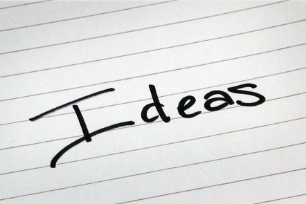 A page with the word 'Ideas' written down.