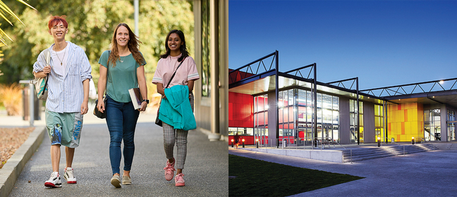 Wintec building and 3 learners