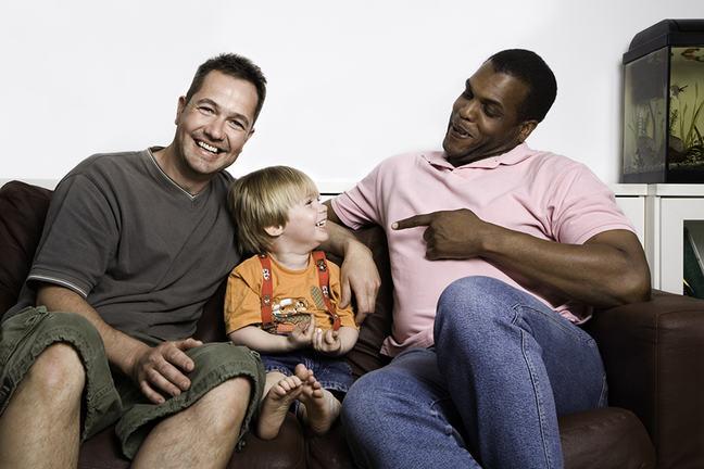 Biracial gay family