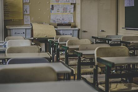 A dilapidated classroom