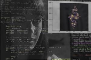 Woman looking at Fortran code and a Julia set