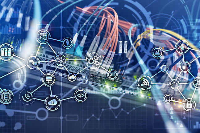 Icons of services connected via cloud computing and network cables