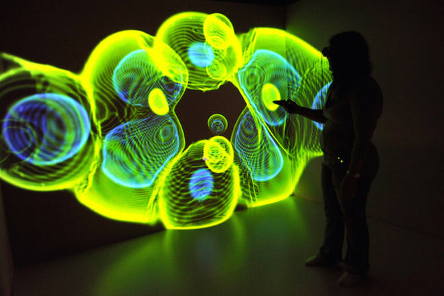 Data represented by 3-D coloured lights in yellow, green and blue