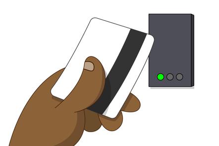 A cartoon of a keycard and a card reader