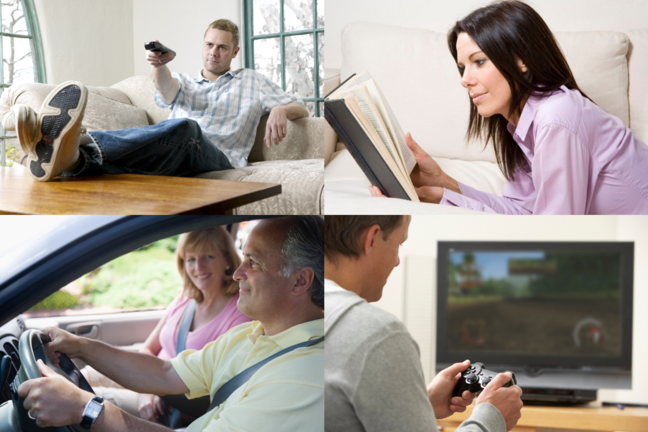 A collage of people being sedentary including playing video games, driving, watching television and reading a book.