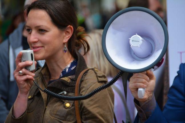 Speaker with megaphone