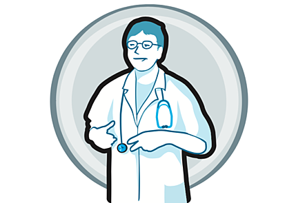 a vector image of a smiling doctor with a white coat and stethoscope on a round gray background.