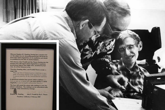 Stephen Hawking, John Preskill and Kip Thorne having a bet on the black hole information paradox