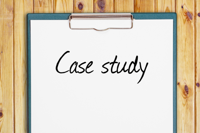 "An image of a clipboard with ""Case Study"" written on it."