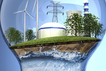 Symbols of renewable energy captured inside a bulb