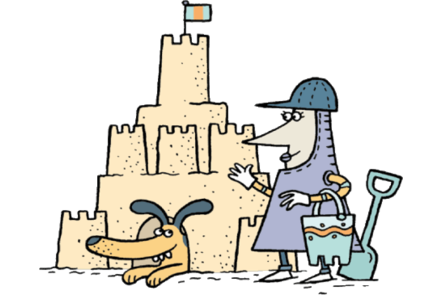 Illustration of a female medieval knight playing with her dog building a sandcastle