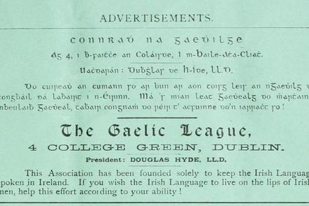 Advertisement for the Gaelic League, 1894.