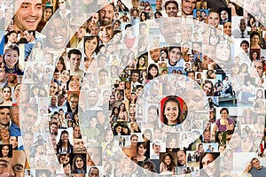 Lots of small profile pictures arranged in a target