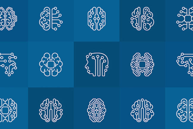 Brain with linear icons and ai brain outline signs