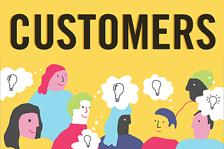 The word 'customers' in bold letters over an illustration of people having ideas