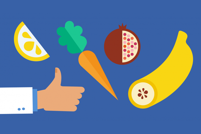 An illustration of a banana, carrot, apple and a hand with thumbs up