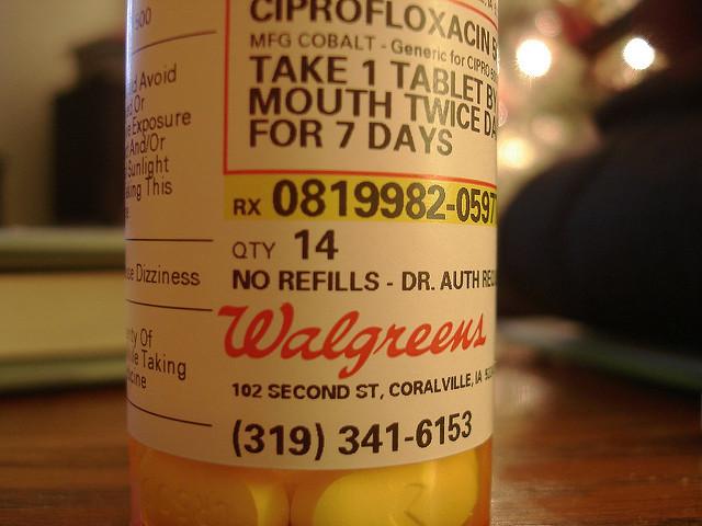 Bottle of Ciprofloxacin
