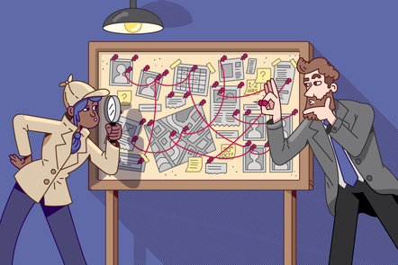 Two detectives looking at a board containing pictures of people, a map, and documents all connected by string