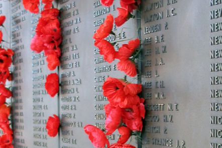 Poppies on the Wall of Remembrance at the Australian War Memorial, Canberra, Australia