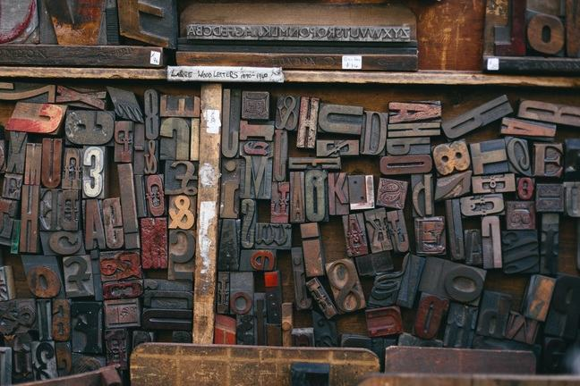Antique wooden letters