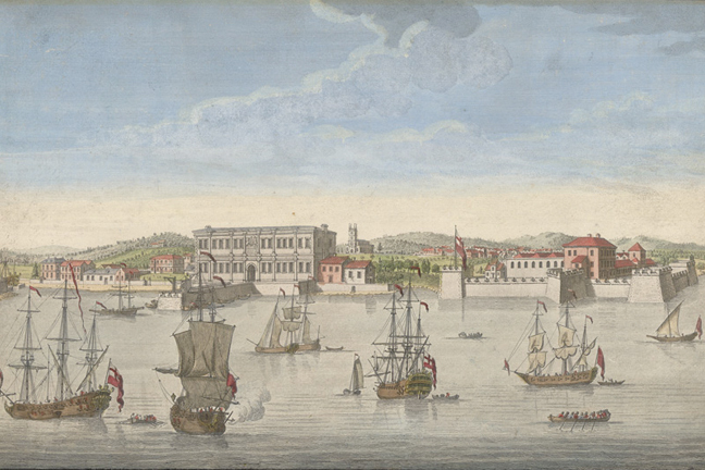 Engraving of ships in the harbour at Bombay. In this view we can see the custom house, the Church of St Thomas and the flagstaff of Bombay.