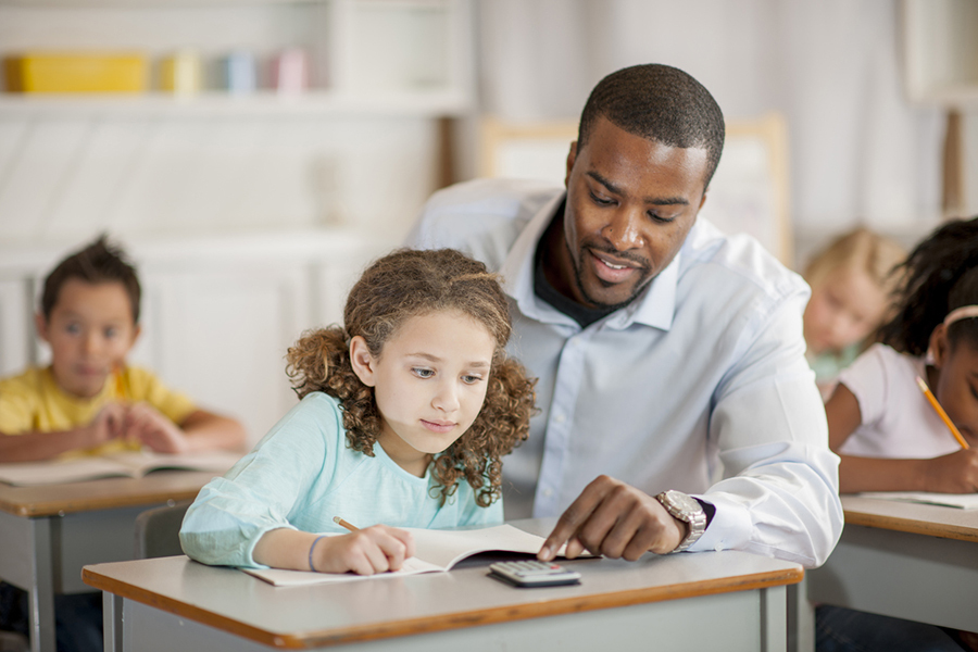 white female student and black male teacher