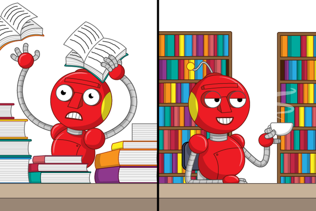 stressed robot with piles of books surrounding them and relaxed robot with a cup of tea surrounded by book shelves