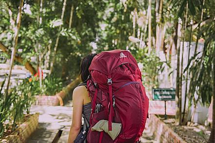 Female backpacker walking in foreign city.