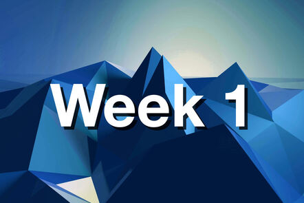 """Within Blue mountain with """"week 1"""" written on it."""