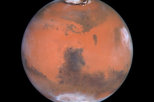 A satellite photograph of Mars