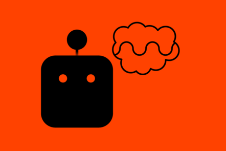 An icon of a black bot head with a 'thinking' bubble on a red backgroud.
