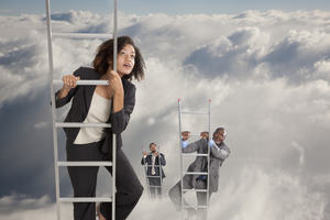 Three business people climbing ladders into the clouds, female winning
