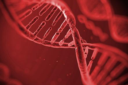 A 3D representation of a strand of DNA.
