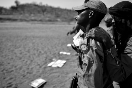 Soldiers of the Malian Armed Forces (MAF) prepare for a live ammunition shooting.