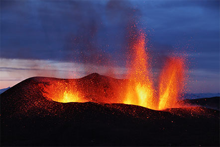 Molten lava erupting from the Eyjafjallajökull volcano in Iceland.