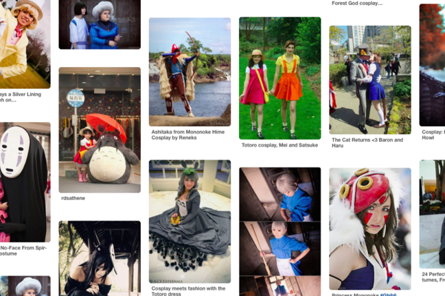 Various images of fans dressed as characters from Studio Ghibli productions