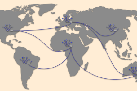 A number of computer networks distributes around the world, connected together by cables.