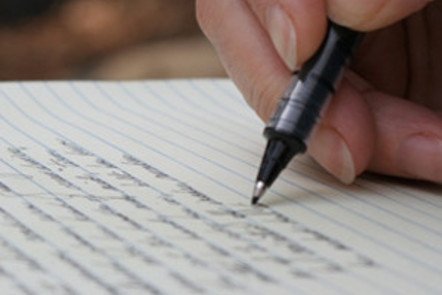 Photograph of pen to paper