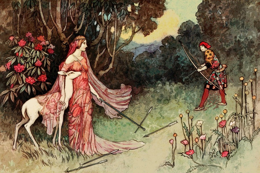 A white doe is protected from a hunter by a fairy