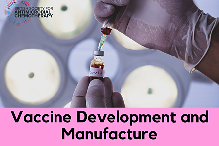 """Hands holding a vial with a """"Covid-19"""" label on. """"Vaccine development and Manufacture"""" text overlap"""